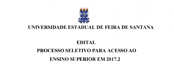 [Feira IX] VESTIBULAR UEFS 2017.2 – Inscrições abertas